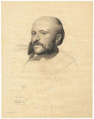Portrait, original Bleistiftzeichnung, akademischer Maler, signiert, etwa 1850