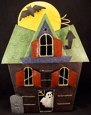Large Metal Spooky House Halloween Metal Tea Light / Candle Holder