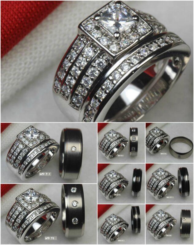 Husband Wife Set Titanium Sterling Silver 925 Wedding Ring Engagement Ring Set