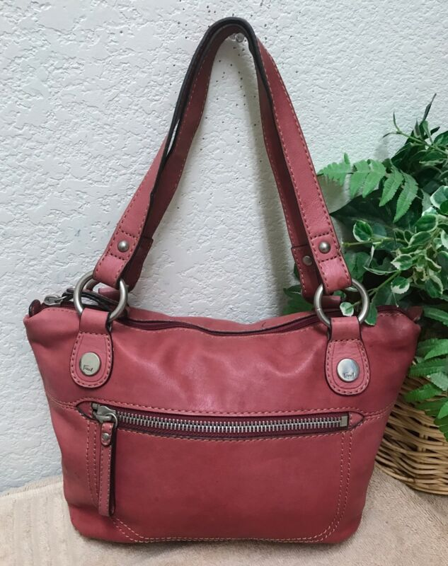 Fossil Long Live Vintage Red Distressed Leather Shoulder Handbag Satchel Bag