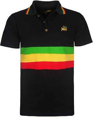 Herren Rasta Polo Dreist Gestreift T-Shirt Shorts mit Lion Of Judah Logo (Rasta Herren Shorts)