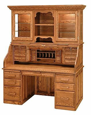 Luxury Amish Rolltop Desk Hutch Office Furniture Solid Wood Oak Maple Cherry ()