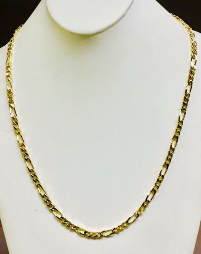 """18k Solid Yellow Gold Handmade Figaro Curb Link Chain/necklace 18"""" 33 Grams 5 Mm"""