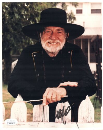 WILLIE NELSON Signed HANDSOME SHOT / ON THE ROAD AGAIN 8x10 Photo JSA COA
