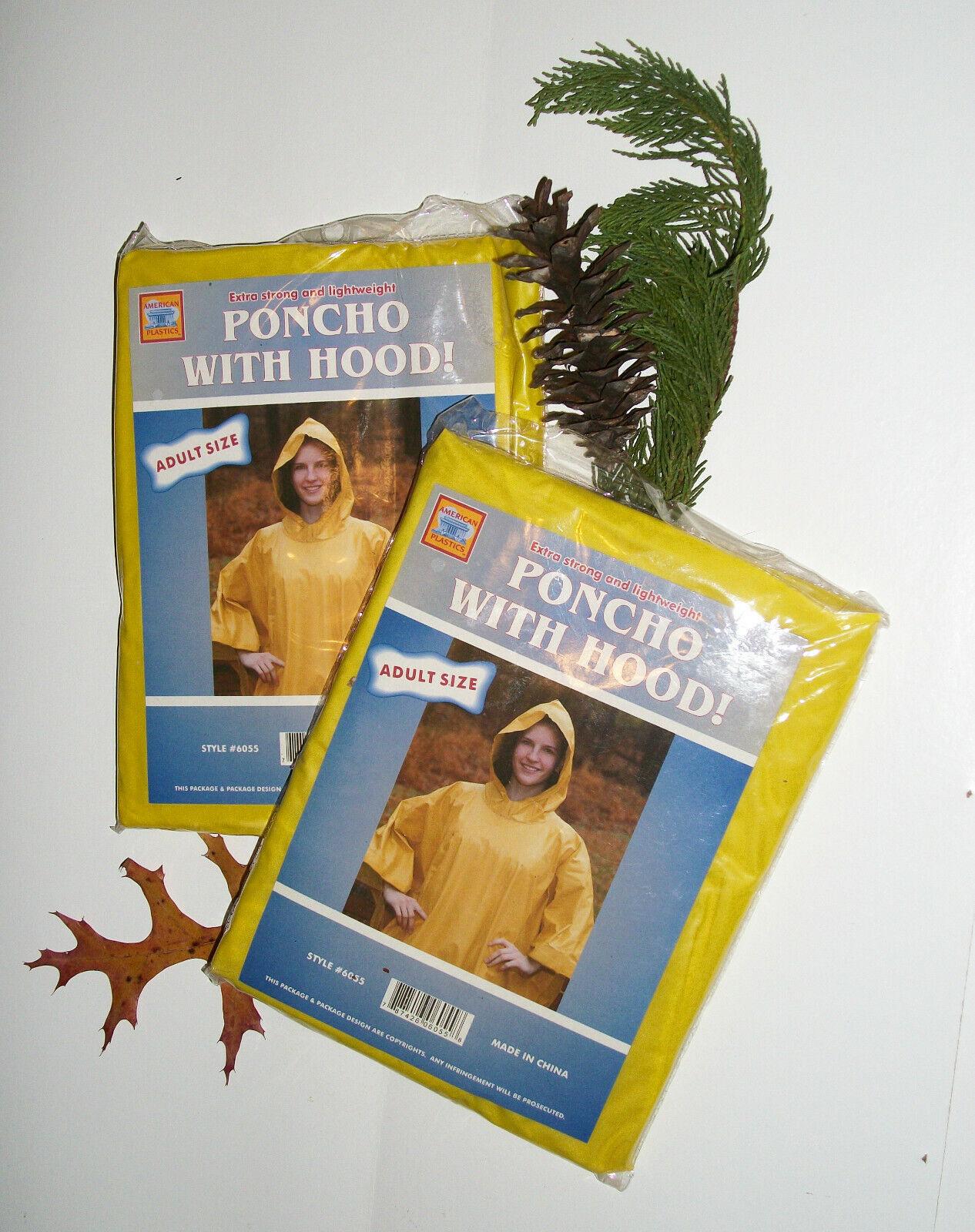 Set of 2 NIP Yellow Rain Ponchos with Hoods American Plastic