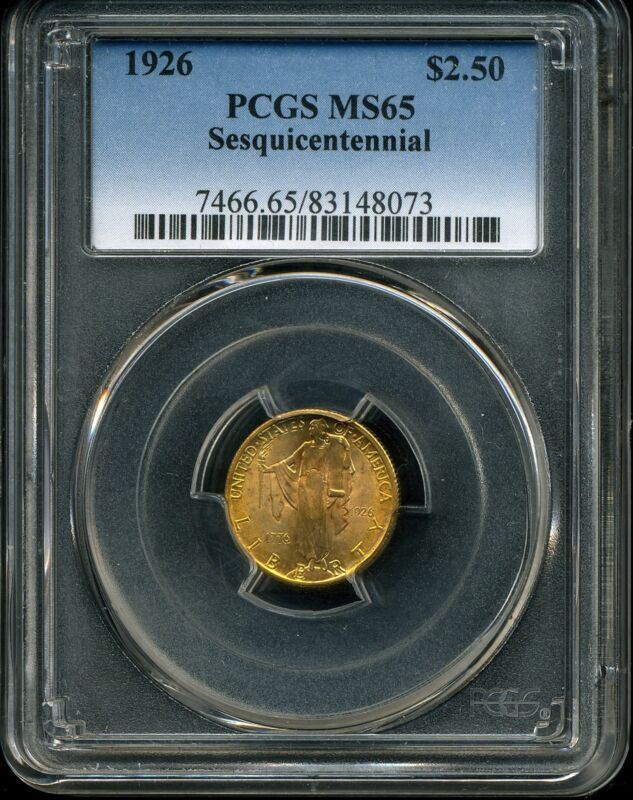 1926 G$2.5 Sesquicentennial Commemorative Gold Quarter Eagle MS65 PCGS 83148073