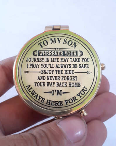 Brass To My Son Compass With Leather Case Nautical Gift For Son From Dad & Mom