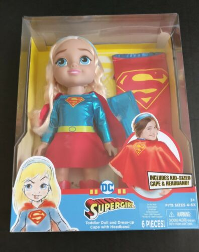 Supergirl Doll with Dress-up Cape and Headband for Toddlers.