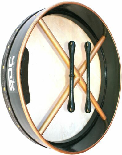 "18"" GREEN GOLDEN X BODHRAN with CASE 2 Beaters SDC-18BODGRX"