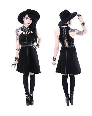 Restyle Gothic Kleid O-Ring Short Dress Nugoth Pentagramm Witchy Occult  Harness