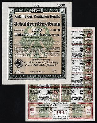 1922 Berlin, Germany: German 1000 Mark Treasury Bond - uncancelled with coupons
