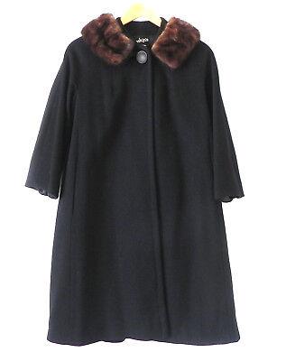 Vtg Einiger Wool Roskin's Coat 3/4 Sleeve A-Line Mink Fur Collar Size L