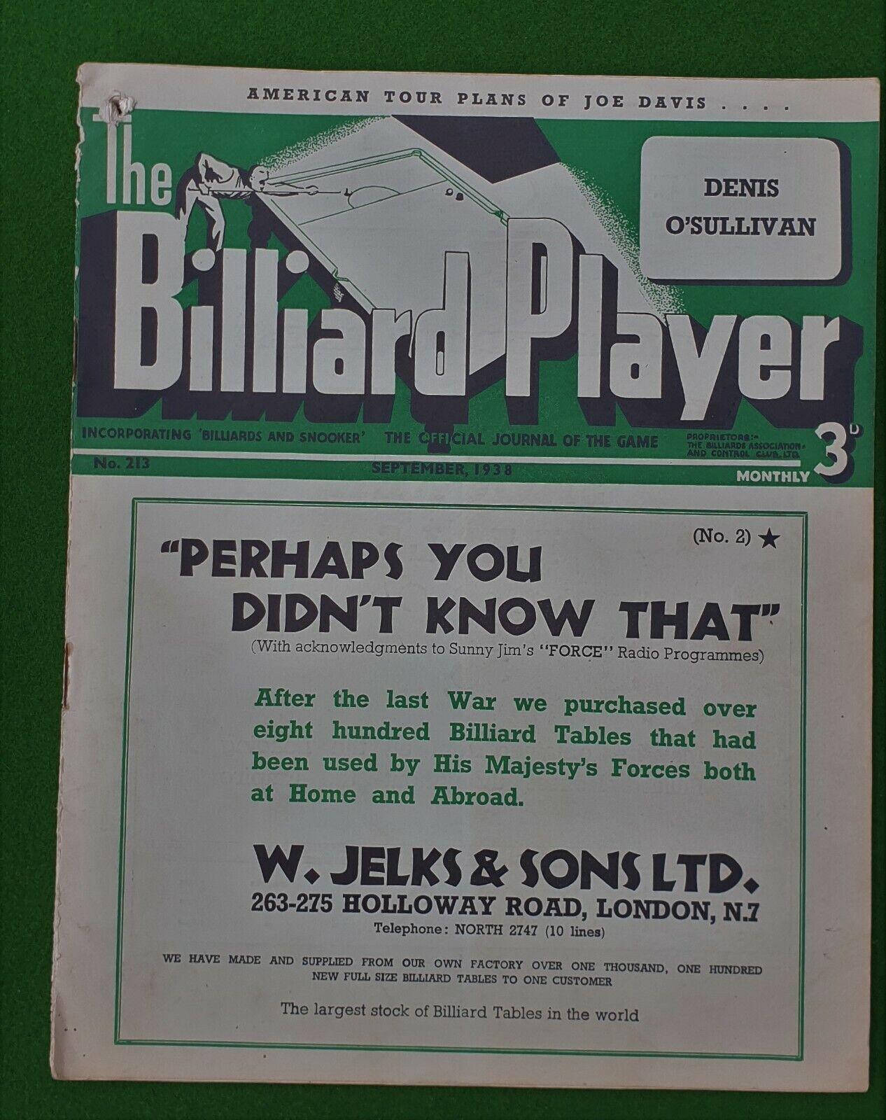 Billiard Player Magazine **September 1938**  No 213