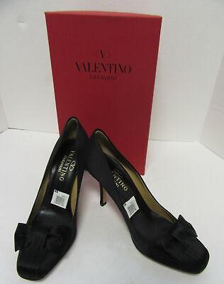VALENTINO Black Satin Tuxedo Style Pumps with Bow Size 40 Tuxedo Bow Pump