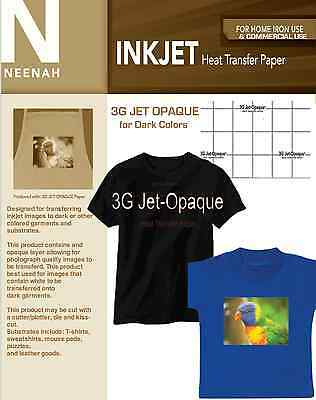 Neenah 3g Jet Opaque Heat Transfer Paper For Dark Colors 8.5x11 20 Sheets