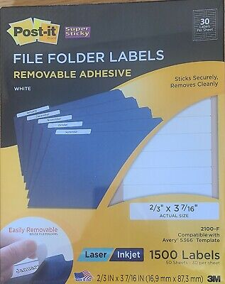 Post-it Super Sticky File Labels White 1500 Pack Removable Adhesive Laser Inkjet