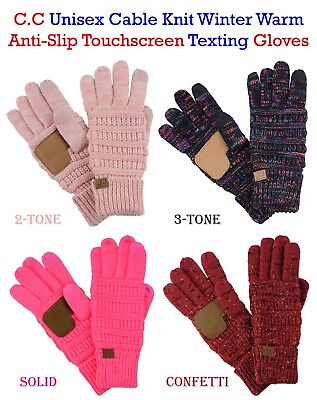 C C Gloves Unisex Cable Knit Winter Warm Anti Slip Touchscreen Texting Cc Gloves