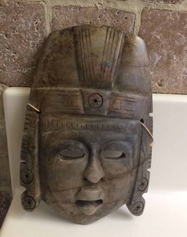 Vintage Mexican Aztec Stone Carved Mask