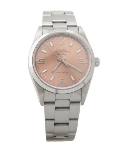 Rolex Air King Precision 14000 Mens Stainless Steel Watch Salmon Arabic Dial
