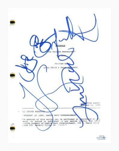 Seinfeld Cast Signed The Chinese Restaurant Script Jerry Larry David +2 ACOA COA
