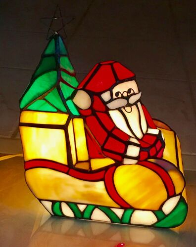 STAINED GLASS LAMP - SANTA AND HIS SLEIGH - NEW - ESTATE PIECE
