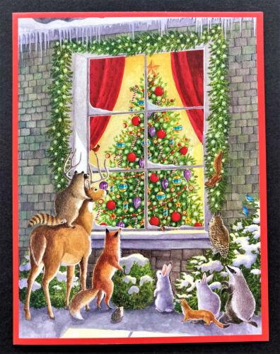 Caspari Animals Christmas Cards SET Of 4 Beautiful Deer Fox Rabbit Owl Squirrel
