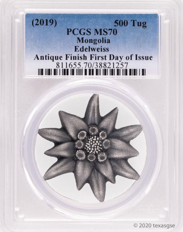 2019 500 Togrog Mongolia Edelweiss Mountain Star 1 oz Silver Coin PCGS MS70-FDI
