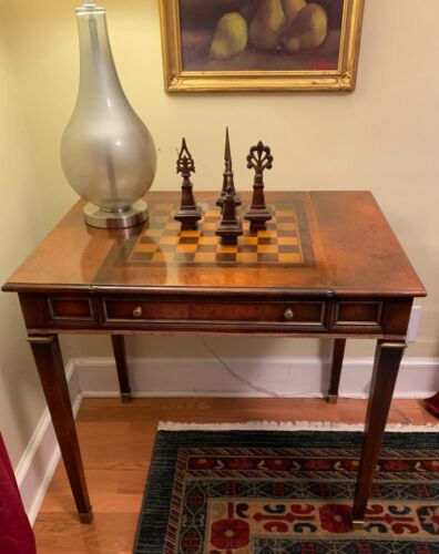 "32"" Cherry Antique Chess and Backgammon Game Table"