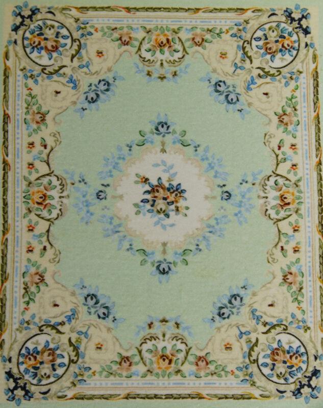 1:12 Dollhouse Fresh Blue European Style Floral Aubusson Rug