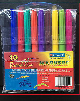 LUXOR BROADLINE WASHABLE WATER BASED MARKERS  PACK 0F 10 - ASSORTED COLOURS