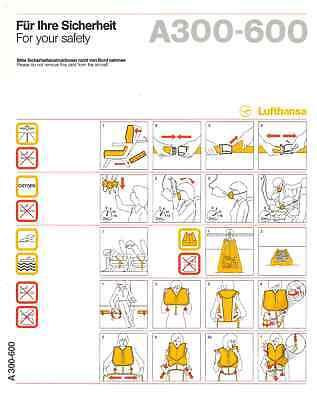 Usado, Safety Card / Lufthansa / Airbus A300-600 / 1993 [0202 10/93] comprar usado  Enviando para Brazil