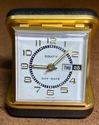 Vintage Equity Wind-Up Travel Alarm Clock w Calendar Day-Date Gold/ Black WORKS