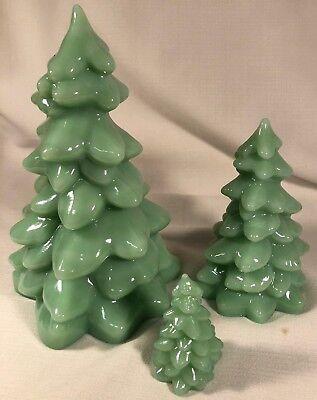 Christmas Holiday Trees Set of 3 - Jade Jadeite Jadite Green Glass - Mosser USA