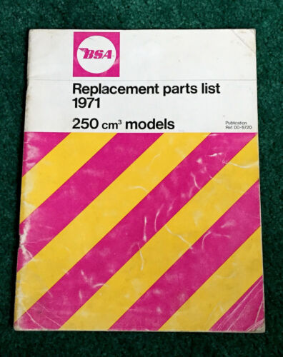ORIG 1971 BSA MOTORCYCLE PARTS MANUAL CATALOG 250 B25 B25SS B25T VICTOR TRAIL