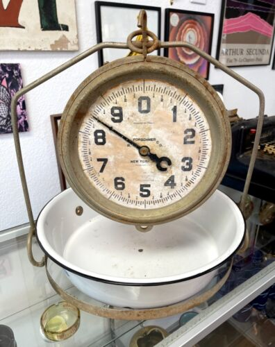 Vintage Brass Forschner 30 lbs Hanging Scale