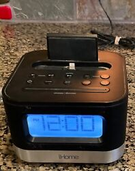 iHome IPL8BN Dual Alarm FM Clock Radio With Lightning Dock for iPhone