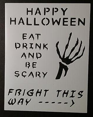 Halloween Sign Stencils (Happy Halloween Sign Skeleton Scary 8.5