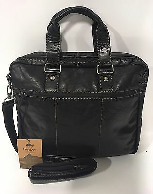 Leather Double Gusset Top Zip (NEW JACK GEORGES VOYAGER DOUBLE GUSSET TOP ZIP BRIEFCASE BLACK LEATHER)
