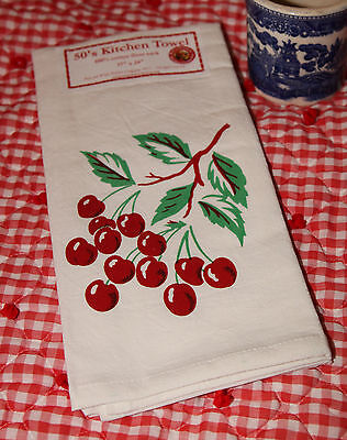 Retro Vintage Style Cotton Flour Sack 50's Kitchen Towels with Bright Cherries!