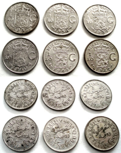 NETHERLANDS EAST INDIES 6 x 1/10 GULDEN 1937-1942 Silver. OO2.3