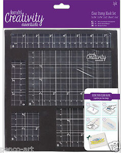 Docrafts Papermania 5pc clear acrylic stamp block set for mounting rubber stamps