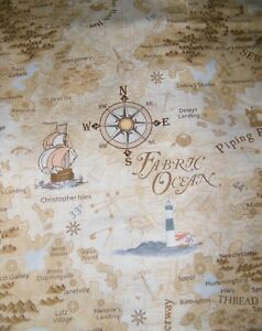 Map print fabric ebay bty row by row sewing fabric map print 100 cotton quilt craft tt fabric yard gumiabroncs Images