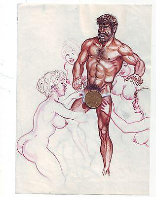 Originalzeichnung GAY Homo-erotisch wie Tom of Finland um 1950 / 1960 von ?  C