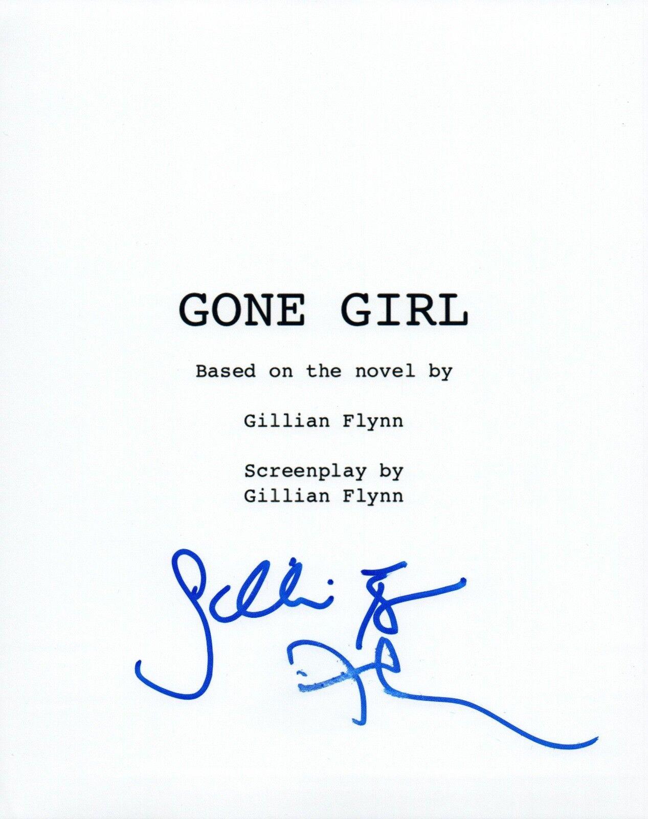 David fincher & gillian flynn signed autographed gone girl movie script coa vd