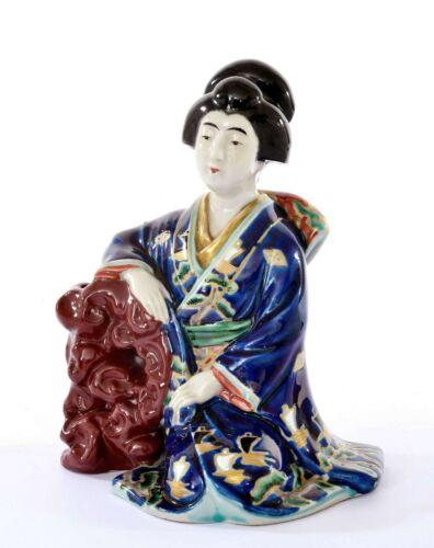 Old Japanese Kutani Porcelain Geisha Bijin Figure Figurine Wood Stand Okimono