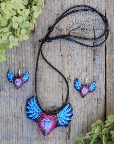 Heart & Wings Clay Art Necklace & Earring Set Handmade Puebla Mexico Love Token