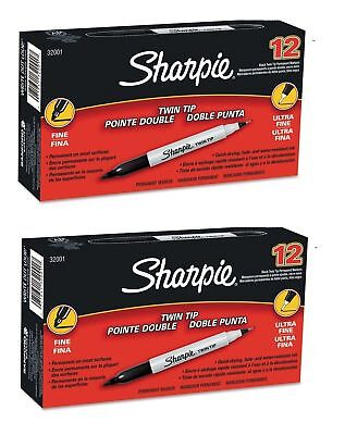 Sharpie Twin Tip Permanent Marker Black Ultra Fine And Fine Ultra Fine Pack Of 2