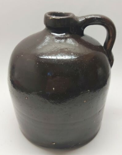 """Little Brown Jug Antique Stoneware Ceramic Moonshine Pottery 7.5"""" Tall"""