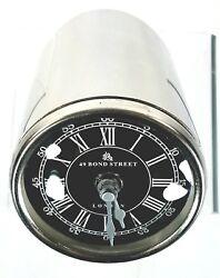 49 BOND STREET LONDON Silver Black Desk Clock Nautical Design Stainless Steel GC