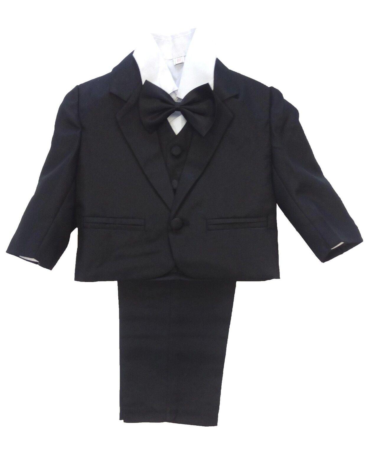 5tlg. Taufanzug / Babyanzug / Anzug mit Smoking-Hemd für Jungen, schwarz div. Gr